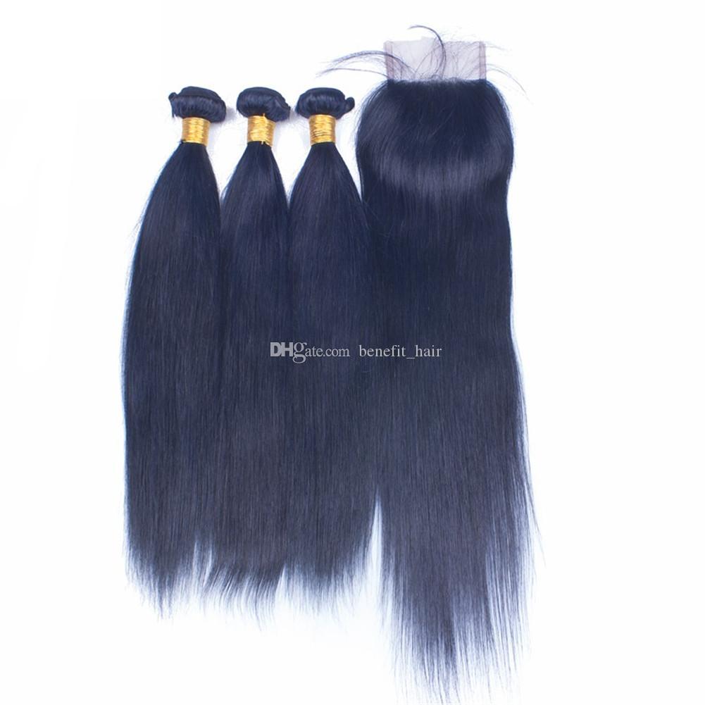 منتج جديد حريري مستقيم لحمة الشعر حزم مع إغلاق الرباط 4x4 اللون الأزرق شعرة الإنسان ينسج مع أعلى إغلاق لوط