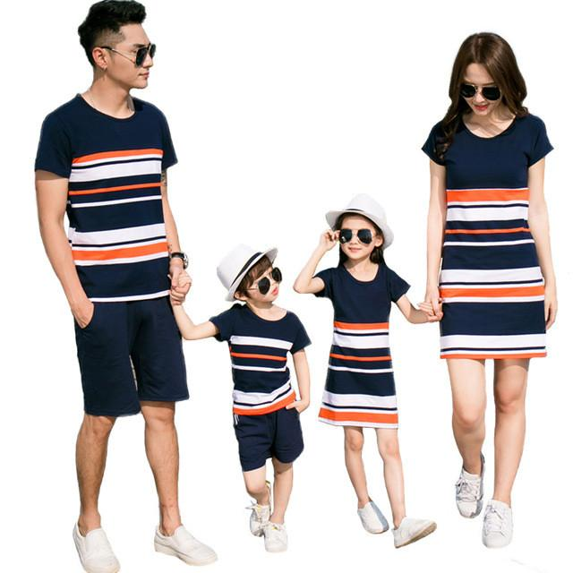 6645a55d42d5a V-TREE Summer Family Matching Outfits Striped T-Shirt + Short for  Father&kids Costumes Mom Daughter Dresses Family Look Sets