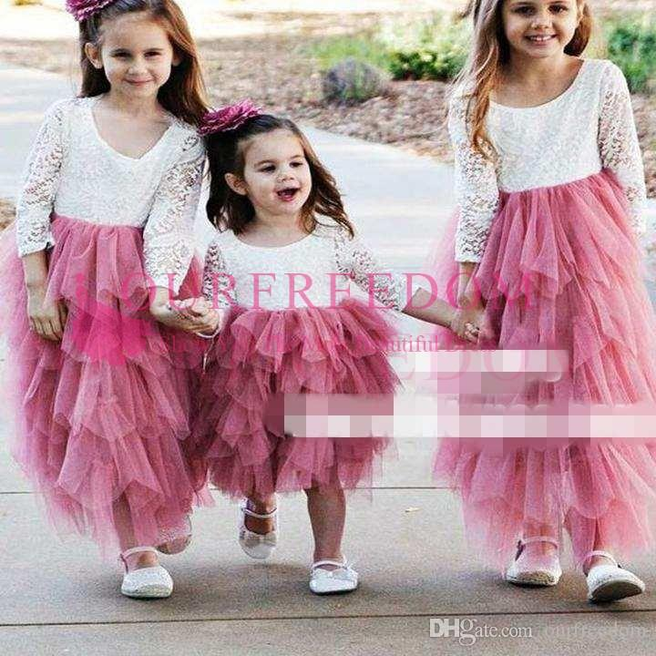 A Line Round Neck Hot Pink Tulle Flower Girl Dress With Lace 2018 Cute Long  Sleeve Tiered Skirts First Communion Dresses Girls Pageant Gown Baby Blue  Flower ... 2409640d0