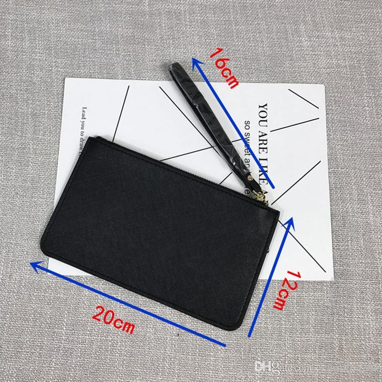 العلامة التجارية مصمم النساء محافظ جلد النساء السوار المحافظ مخلب أكياس السوسته كيس بطاقة ملونة