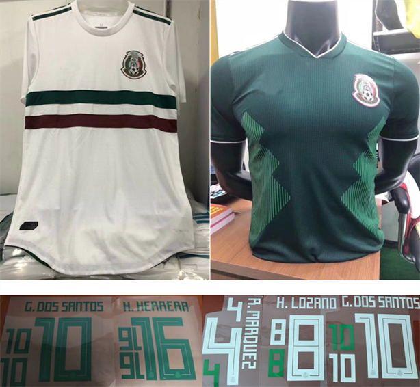 Jugador Versión 2018 Copa Mundial México Visitante Camiseta De Fútbol Blanca  México Camiseta De Fútbol Local Jugador Versión 2018 Copa Del Mundo  Uniforme De ... 4b9bb740d5264