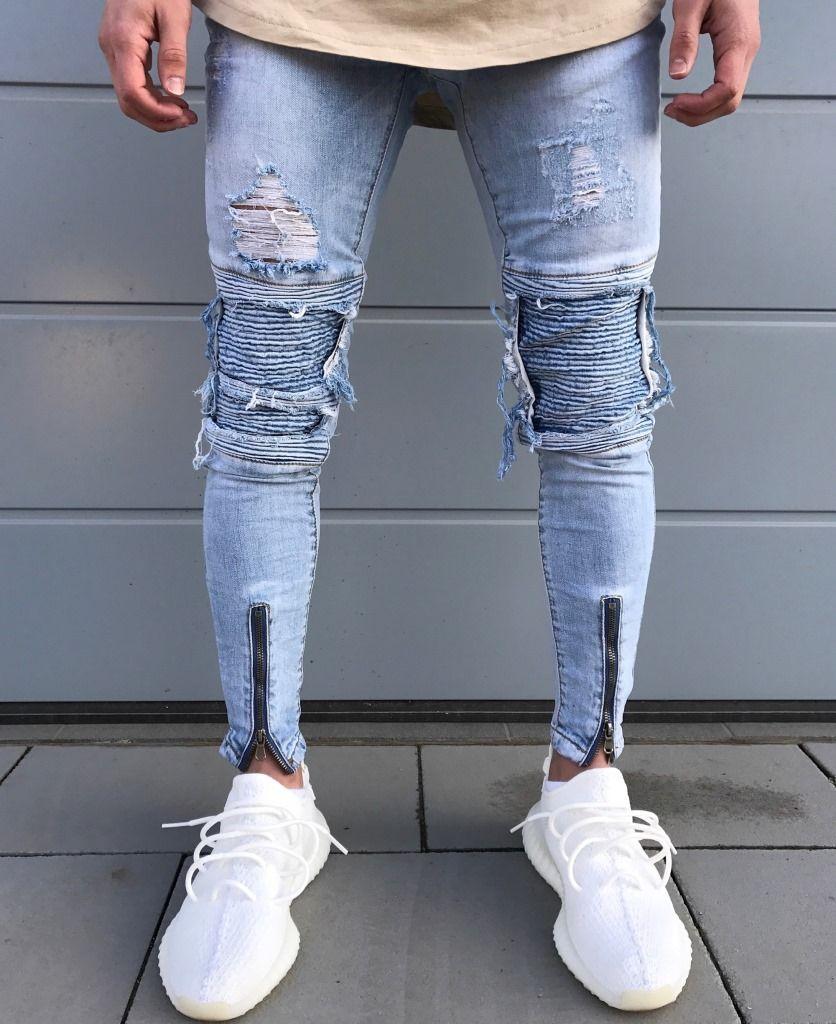 a5506982 Hot Sale Men's Straight Slim Fit Hole Biker Jeans Light-Colored ...