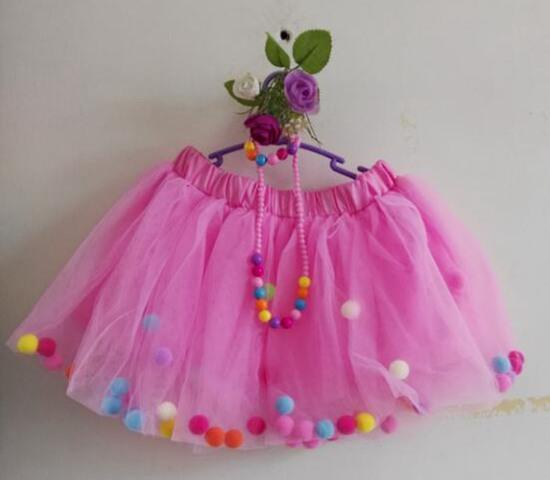 2018 girl tulle skirts fluffy baby tutu skirt rainbow pom poms pettiskirt necklace bracelet ballet tutus for girls birthday party supplies