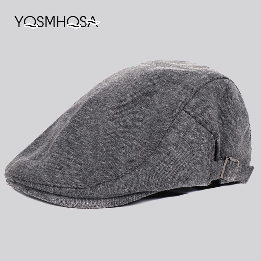 662a09de8c3d4 Vintage Beret Caps Men Cotton Sun Visor Caps Beret Hat Male Bonnet ...