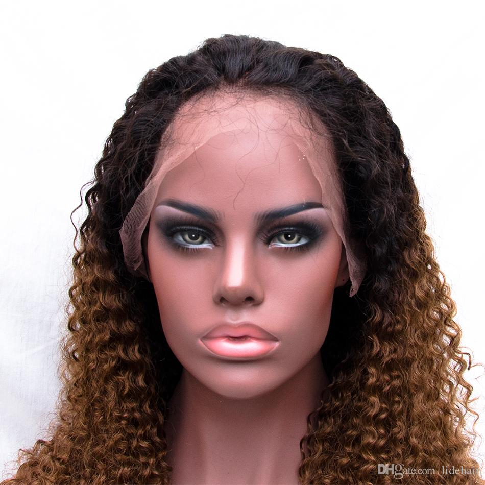 Ombre T#1B/30 Lace Front Wigs Deep Curly Full Lace Human Hair Wigs 150 Density Indian Virgin Hair Pre Plucked Wig
