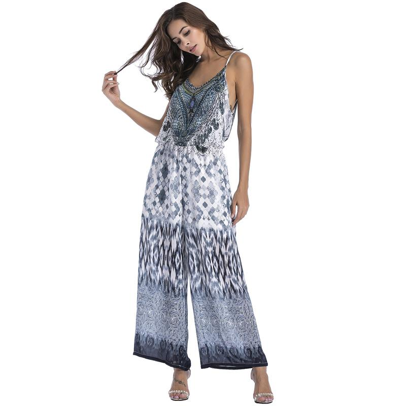 7d9cf6ad82e9b Summer Chiffon Jumpsuit Beach Wide Leg Long Pants Strap Casual Rompers  Women Boho Sexy Backless Loose Overalls Elegant Playsuits