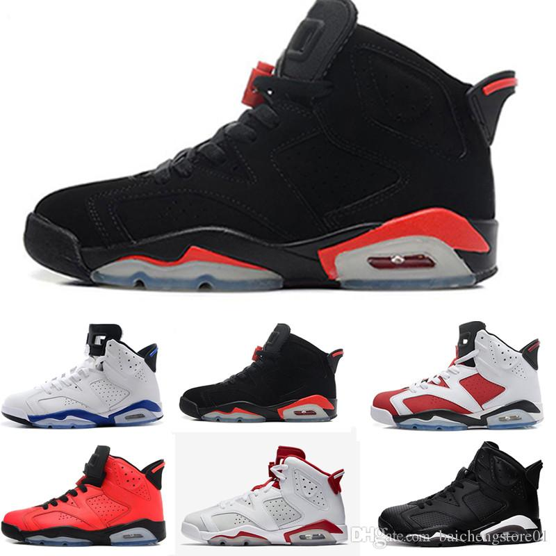 ebc4d9b5d14913 2018 Designer Mens 6 Basketball Shoes New Trainers UNC Blue Black Cat White  Infrared Red 23 Carmine Maroon Women Sports Sneakers Size 36 47 Sports Shoes  ...