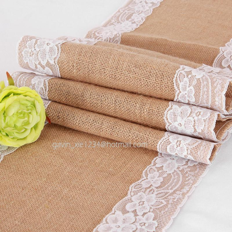 30cm*275cm Vintage Burlap Lace Hessian Table Runner Natural Jute Country  Table Decoration For Wedding Home Decoration Quilted Table Runner Patterns  Quilted ...