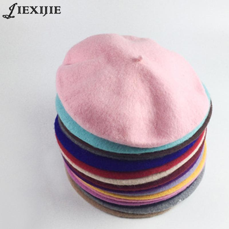 7115048b 100% Wool Beret Painter Cap Baked Wheat Cake Cap Warm Girl High Quality Women  Beret Warm Female Bonnet Hats Solid Color Winter Y18110503 Trucker Hats  Winter ...