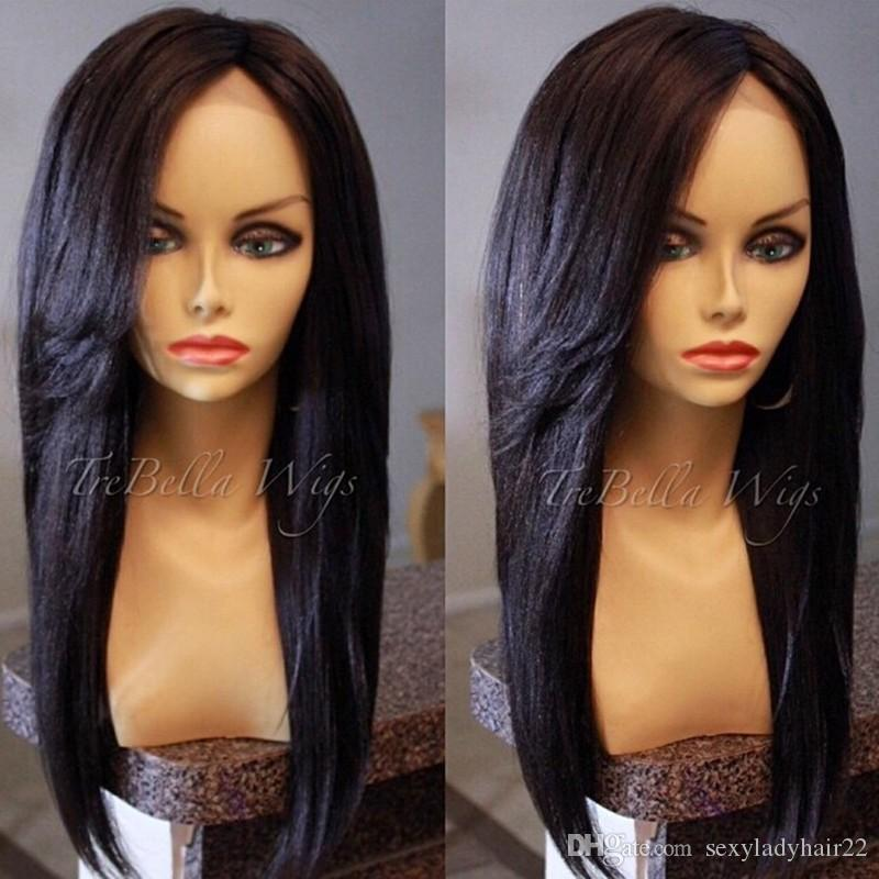 Stock Yaki Straight Lace Front Wig 18-30 inch Long Women's Lace Frontal Wig Natural Black Color Synthetic Lace Fully Hair
