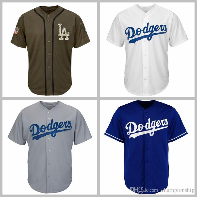 d2380787eb9 2019 2018 Men Women Youth Dodgers Jerseys Blank Jersey Baseball Jersey No  Name No Number White Gray Grey Blue Green Salute To Service From  Liting4858