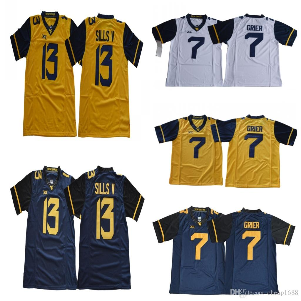 2019 Mens West Virginia Mountaineers  7 Will Grier  13 David Sills V Gold  Yellow Navy Blue White XII WVU NCAA Stitched College Football Jerseys From  ... 95e188f66
