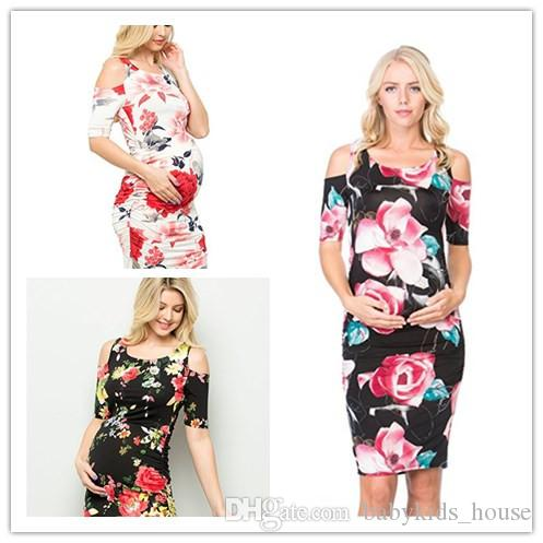 2019 Maternity Dresses Baby Shower Photoshoot Bodycon Elegant Floral