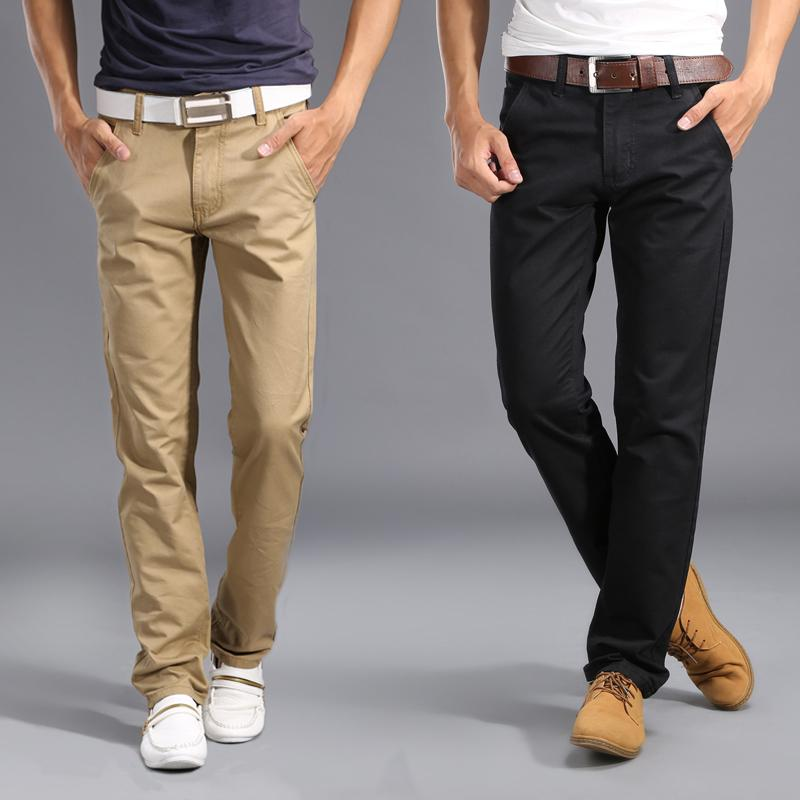 715c8a1469378 2019 2017 New Design Casual Men Pants Cotton Slim Pant Straight Trousers  Fashion Business Solid Khaki Black Pants Men Plus Size 28 38 Y1892801 From  Tao01