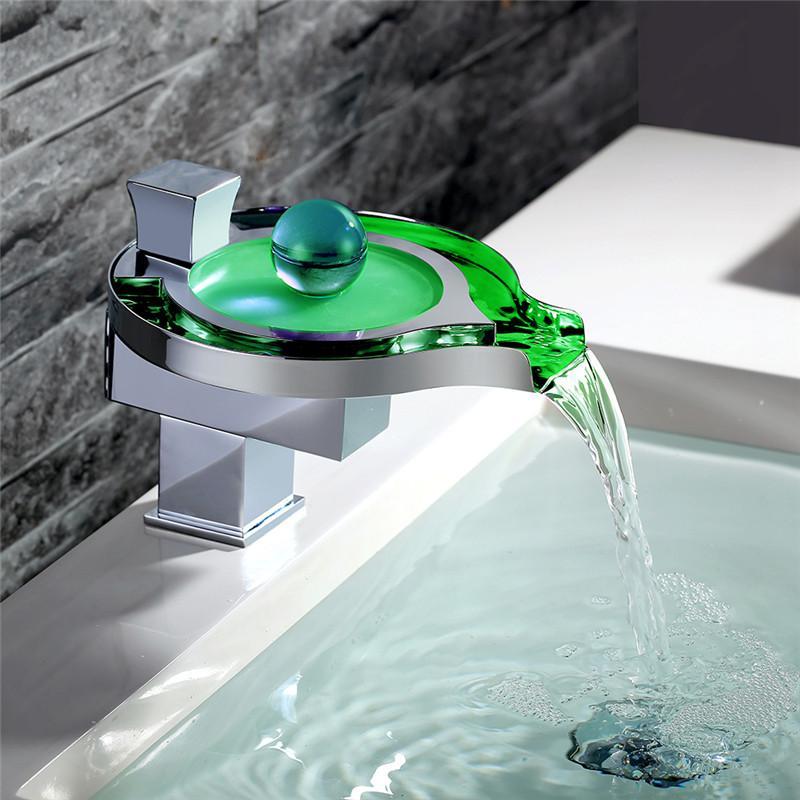 2018 New Bathroom Faucet Brass Chromed Waterfall Bathroom Basin ...