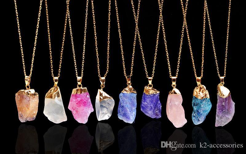 Irregular Natural Stone Pendant Necklaces Chakra Bead Gemstone Necklace Pendant Original Crystal Quartz Pendant Necklaces Jewelry Chains