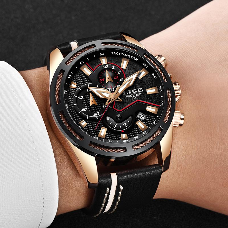 c13181daf734 Relojes Hombre 2018 New LIGE Fashion Mens Watches Top Brand Luxury Leather  Quartz Watch Men Sports Waterproof Dress Wrist Watch Digital Wrist Watches  Wrist ...