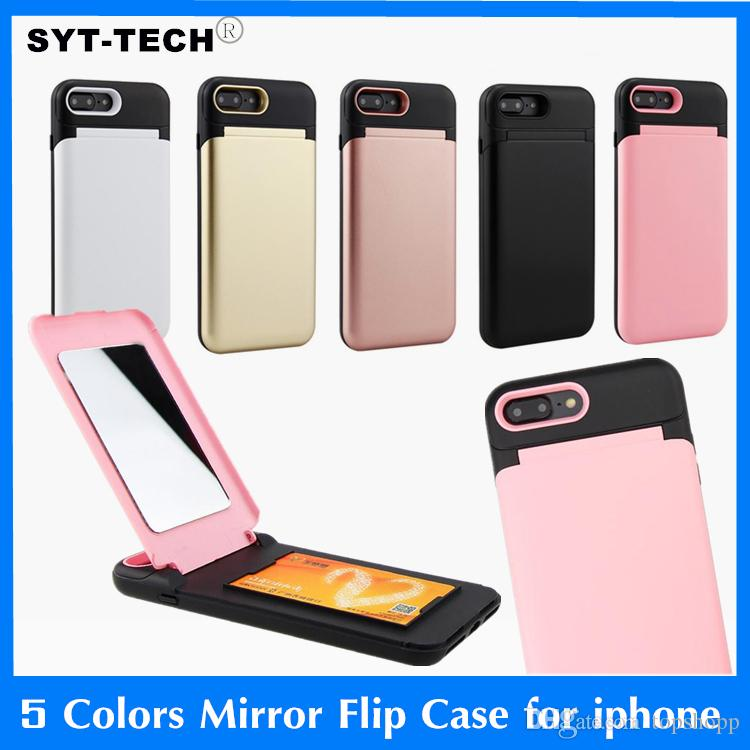 Luxury Flip Mirror Credit Card Holder Case Cover For Iphone X 8 7 6