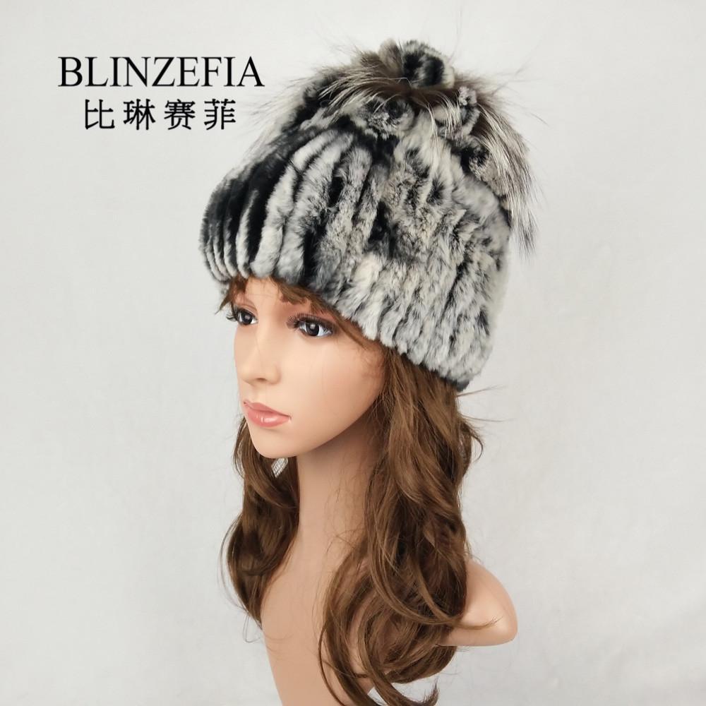 Compre BLINZEFIA Malha Real Rex Pele De Coelho Inverno Mulheres Chapéus  Bonnet Quente Macio Genuine Fur Flor Gorros Cap Muts Gorro BZ6034 De  Juaner f085a45da48