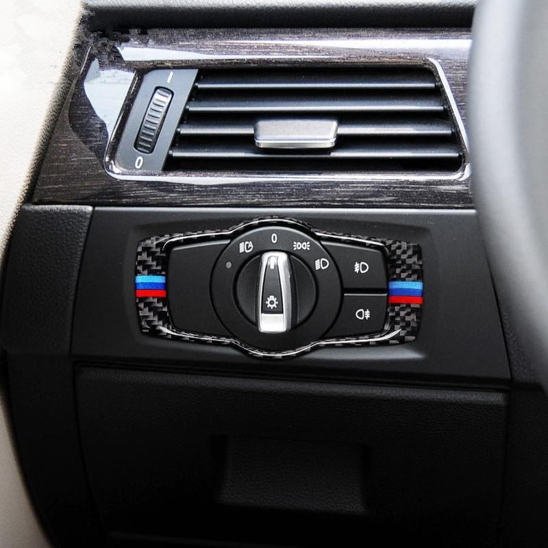 Carbon Fiber Car Headlight Switch Frame Decoration Cover Trim For ...