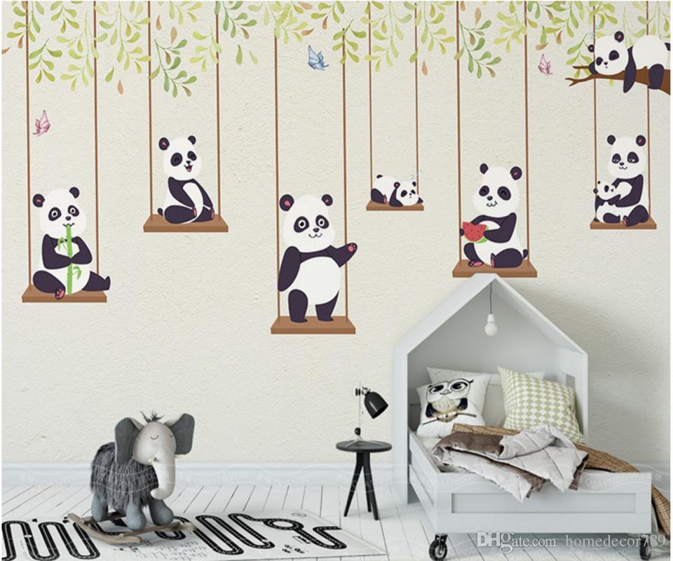 Satın Al 3d özel Karikatür Boyama Duvar Kağıdı Karikatür Panda çocuk