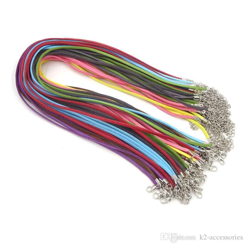 التي / الكثير 3MM الجلد المدبوغ الحبل لون المزيج الكورية المخملية الحبل سلسلة حبل قلادة المشبك جراد البحر DIY صنع المجوهرات