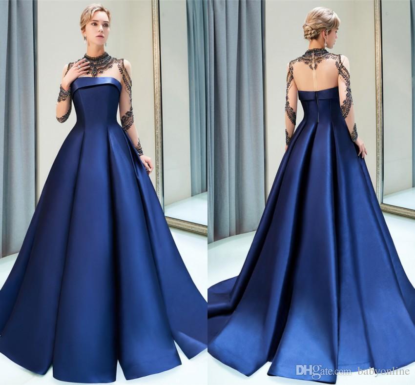 c99c59b7d Designed 2019 New Navy Blue Elegant Evening Prom Dresses Sheer Long ...