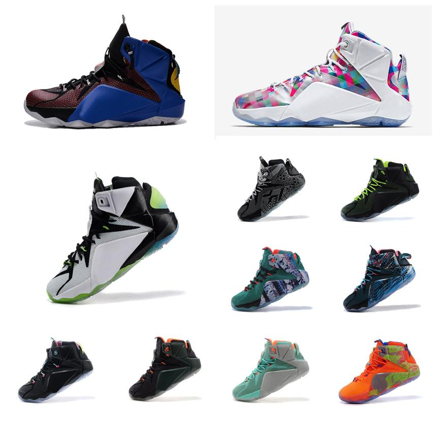 sale retailer d9850 dde05 ... best 2018 cheap men what the lebron 12 xii basketball shoes stars  easter bhm christmas mvp