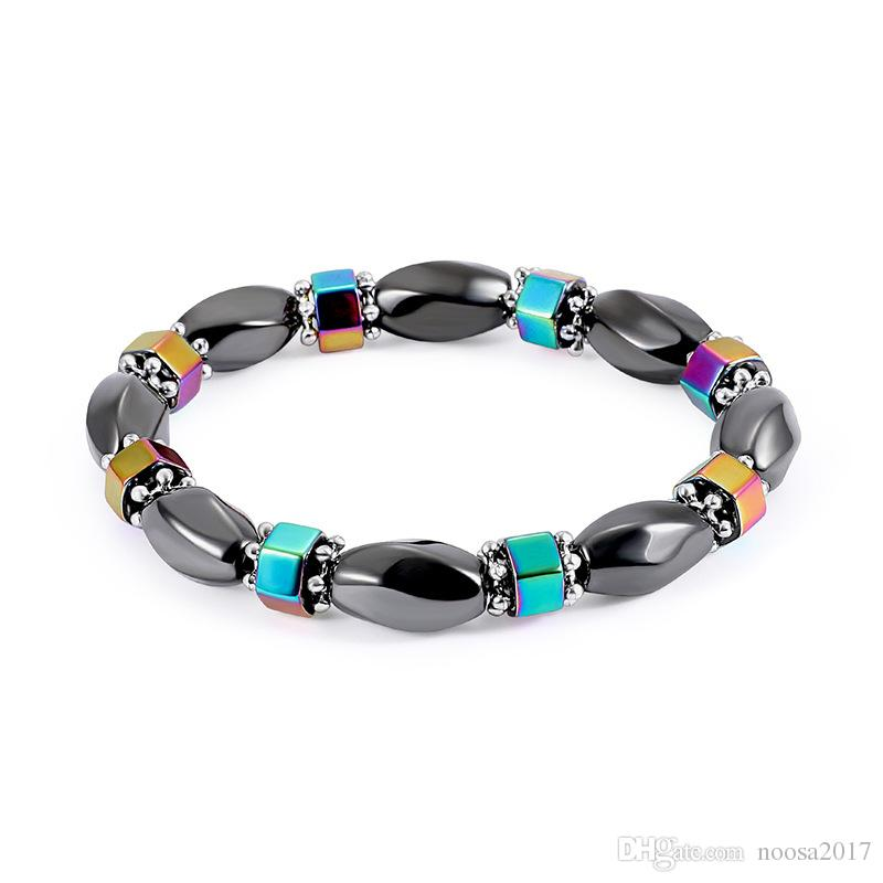 Black Magnetic bracelet Hematite Fashion Pain Hematite Stone braceles resin AB color Therapy Health Care Magnet jewelry for men and women