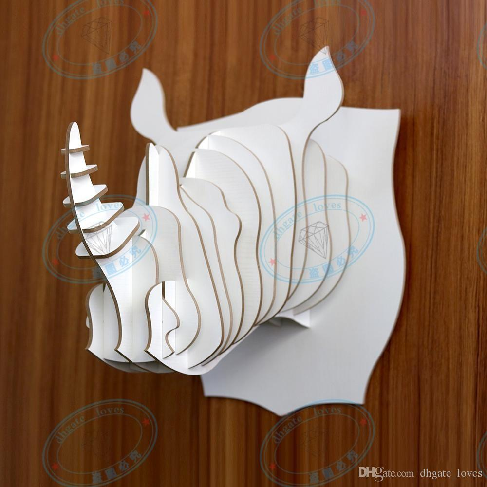 DIY 3D Wooden Colorful Animal Head Assembly Puzzle Art Model Kit Toy Home Decoration