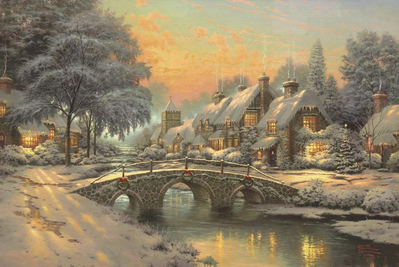 Thomas Kinkade Christmas 2019 2019 Thomas Kinkade Christmas Tree ,Oil Painting Reproduction High