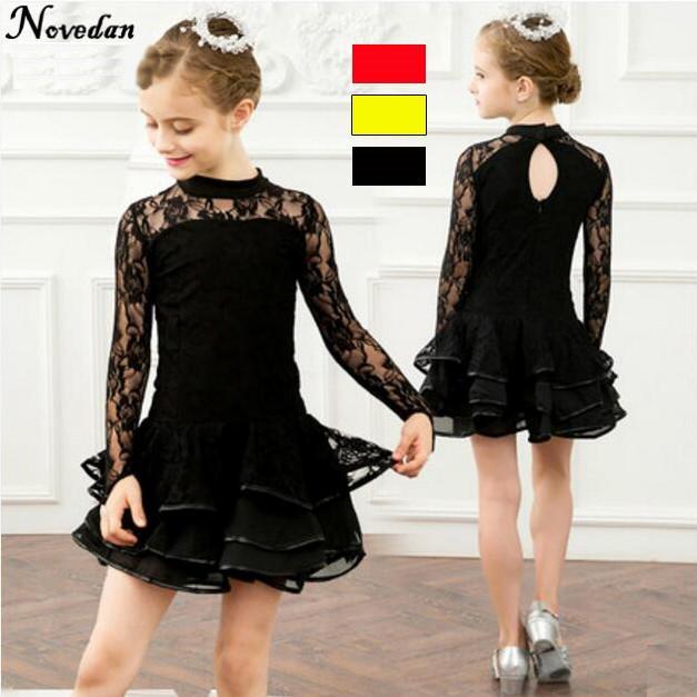 0781bba3b4452 Acheter Nouvelle Robe De Danse Latine À Manches Longues En Dentelle Pour  Les Filles Salsa Dance Costumes Jaune Noir Robe De Bal Tango Rouge Pour Les  Enfants ...