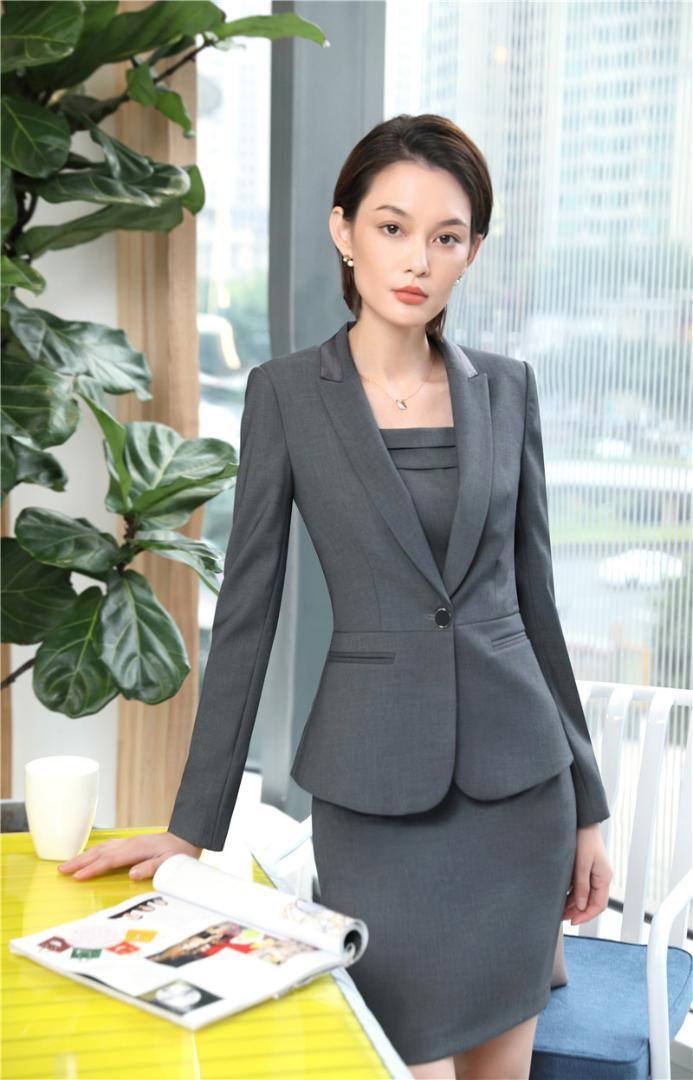 Compre Diseños Formales Uniformes Blazers Trajes Con 2 Piezas Tops Y  Vestido Para Oficina Señoras Ropa De Trabajo De Negocios Establece EleGray  A  83.98 Del ... 680316634756