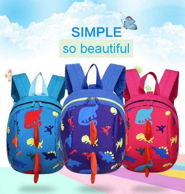 68facca71f 2019 Cartoon Dinosaur Animal Print Anti Lost Kids Backpack Cute ...