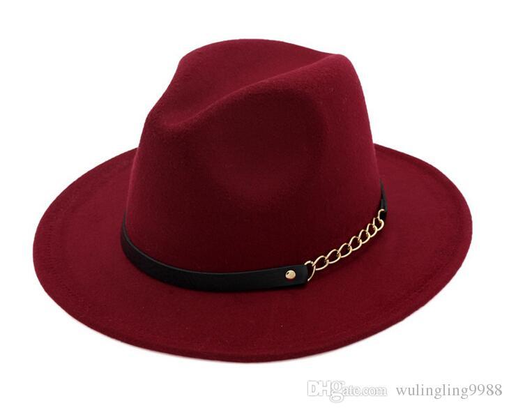 남성 여성을위한 패션 TOP 모자 우아한 패션 솔리드 펠트 페도라 모자 밴드 와이드 플랫 브림 재즈 모자 세련된 Trilby 파나마 모자 5 개