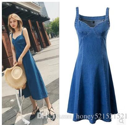 526a2bc1bdb New European Fashion Women S Sexy Spaghetti Strap Tube Top Sleeveless High  Waist Denim Jeans Big Expansion Midi Long Dress SML Women Floral Dresses  Casual ...