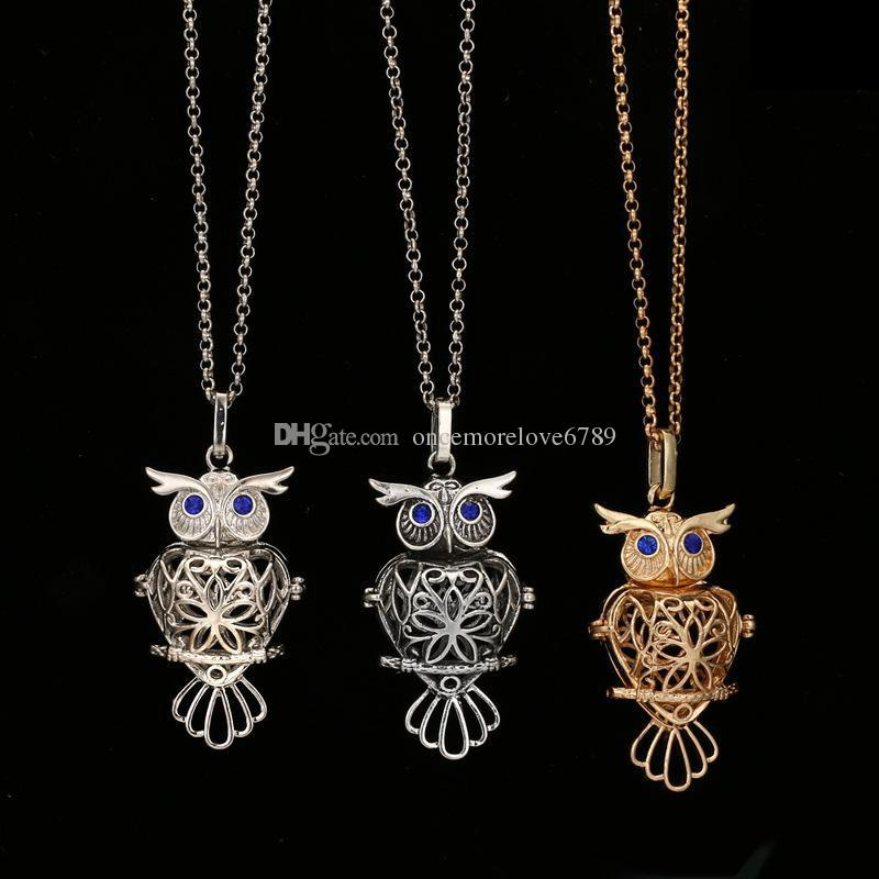 2018 big owl pearl acessórios Disffuser Golfinhos Colar Medalhão Óleo Essencial Colares Difusor Oco out Medalhão Gaiola Pingente de Colar