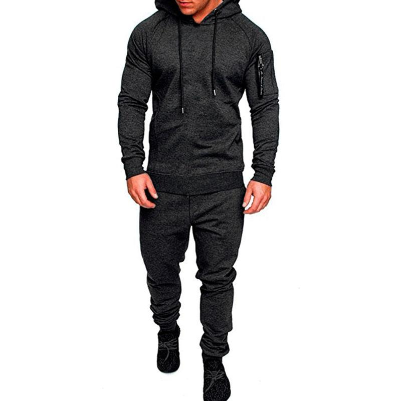 24e5f60774b71 New Sets Long Sleeve Camouflage Hoodies+Pants Men Autumn Winter ...