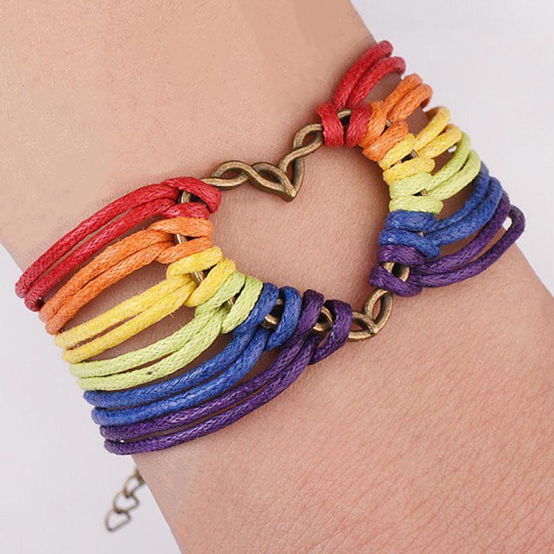 47c72eeb37338 Handmade Thread Bracelet Gay Pride Leather Bracelets Love Jewelry Rainbow  Friendship Equal Lesbian LGBT Wristband for Men Women