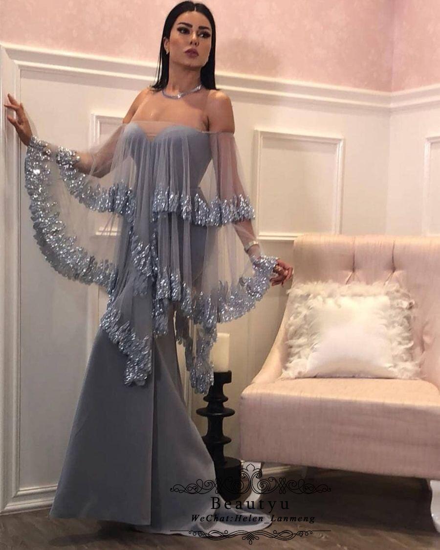 Arabic Formal Dresses Evening Wear Muslim Long Sleeve Sequined Lace Kaftan  Dubai Yousef Aljasmi Plus Size 2018 Prom Dress Pageant Party Gown Evening  Dresses ... c276c883ac04
