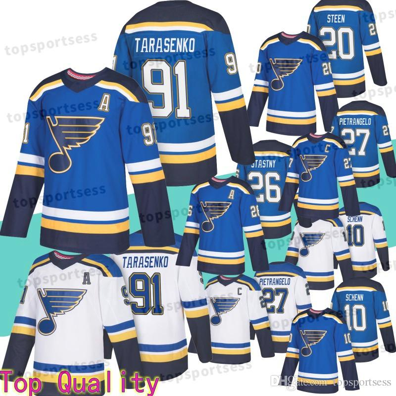 low priced 44384 0512d 91 Vladimir Tarasenko Jersey St. Louis Blues 10 Brayden Schenn 20 Alexander  Steen 26 Paul Stastny 27 Alex Pietrangelo Hockey Jerseys