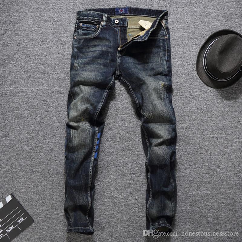 f843f49d164e9 Compre Ropa De Marca Pantalones Vaqueros Azul Estampado Pantalones Vaqueros  Hip Hop Lavado A Rayas Medio Slim Fit Denim Ripped Dark Jeans Hombre A   45.69 ...