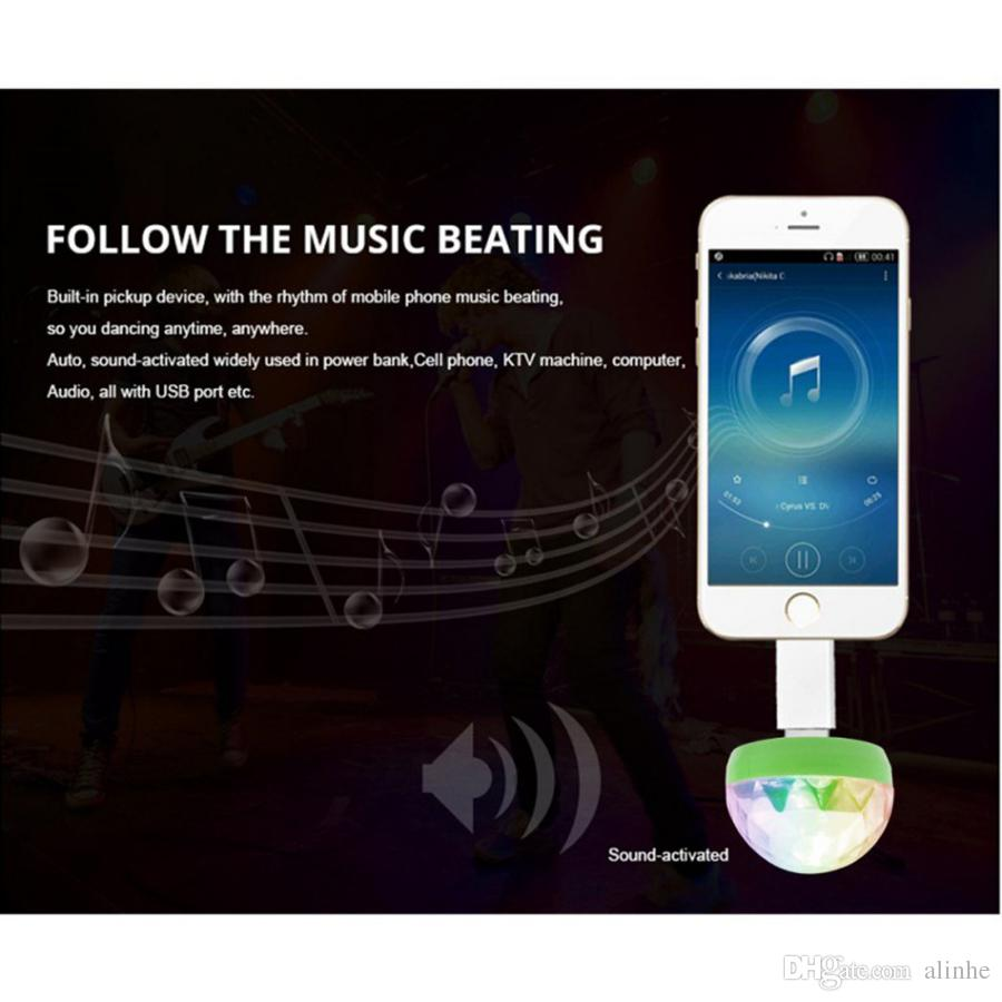 Micro USB Stage Light 4W Magic Ball RGB Lamp Disco Magic Club Party Home Decoration Lighting Effect for Mobile Phone Power bank