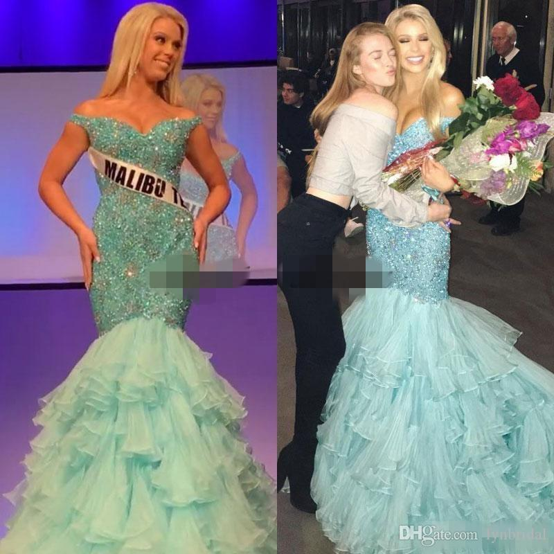 Mint Green Miss Universe Evening Gowns Dresses Bling Bling 2018 ...