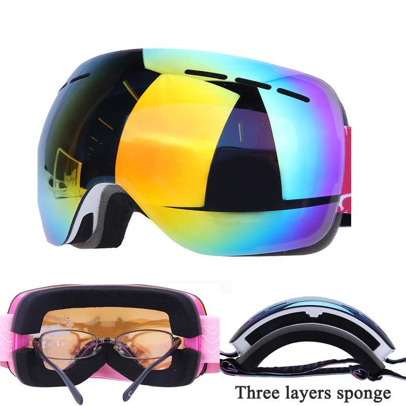 3e5ddcc746e2 Clip on Ski Glasses Anti-fog Double Layers Ski Goggles UV400 Large ...