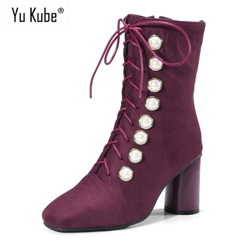 ac9b572fa925 Yu Kube Flock Women Boots 2018 Autumn Thick Heel Lace Up Ladies Casual Ankle  Shoes Back Zipper Square Toe Ankle Boots For Women Womens Boots Boots Uk  From ...