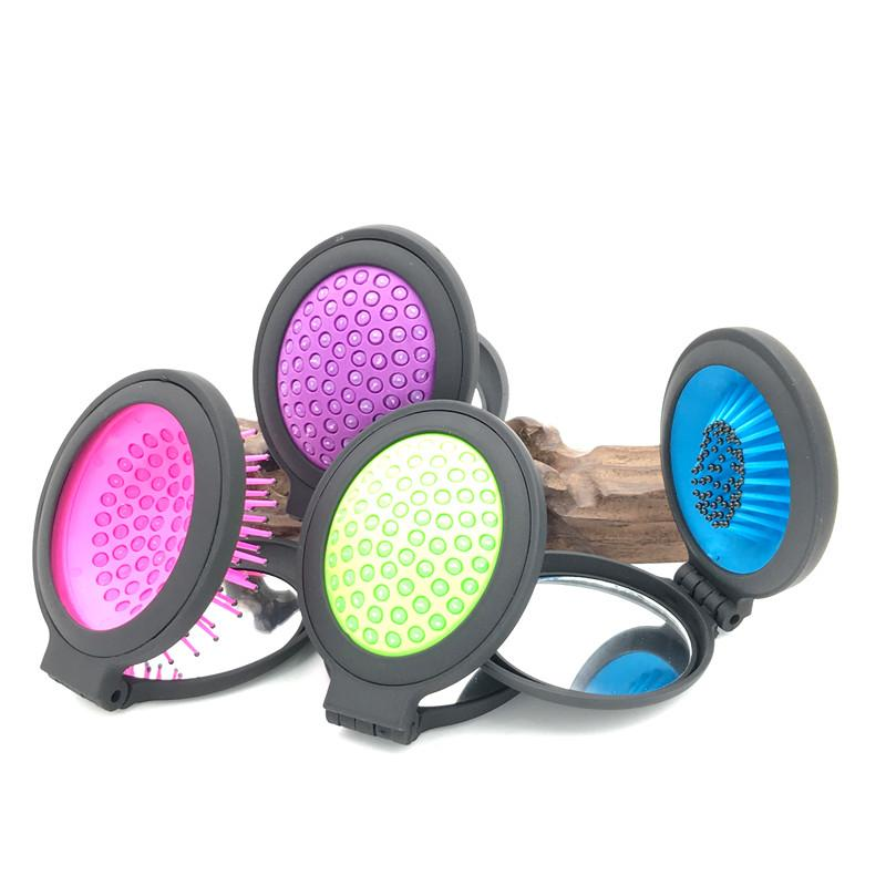 Magic Folding Handle  Detangling Comb Shower Hair Brush With Makeup Mirror Salon Styling Tamer Tool Hot Selling L-TH05