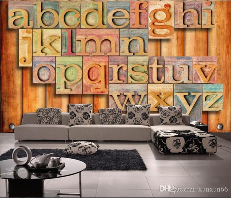 Retro- Art und Weise 3d englische Alphabet dreidimensionale Persönlichkeit  Tapete Wohnzimmer Bar Cafe Hintergrund Wand industrielle Wind Tapete