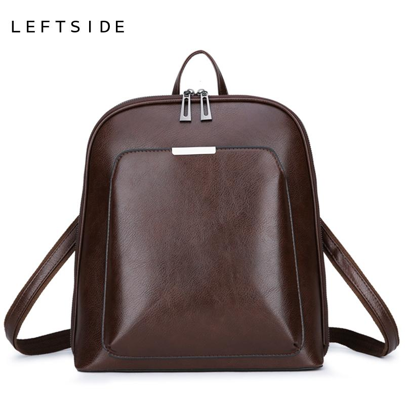 LEFTSIDE Simple Style Backpacks For Women 2018 PU Leather Backpack For College  School Teenagers Back Pack Black Brown Drop Ship Jansport Backpacks School  ... 0fa692401a260