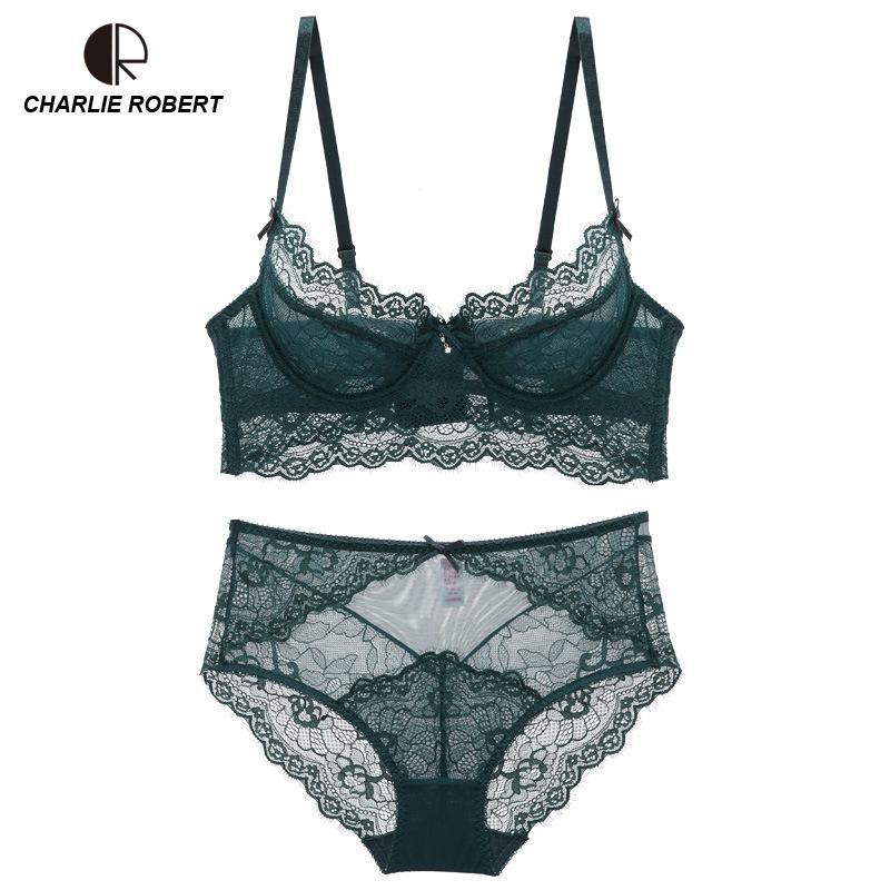 c68bab67c Compre Ultrafinos Lingerie Conjunto Plus Size Sutiãs A B C D Copo De  Cintura Alta Sexy Conjunto De Sutiã De Renda Transparente Mulheres Underwear  Preto ...